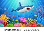 cartoon shark with coral reef... | Shutterstock .eps vector #731708278