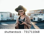 smiling and laughing young...   Shutterstock . vector #731711068