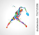 badminton player abstract... | Shutterstock .eps vector #731715358