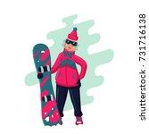 woman with snowboard. cartoon... | Shutterstock .eps vector #731716138