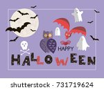 happy halloween. background... | Shutterstock .eps vector #731719624
