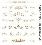 vintage ornaments set floral... | Shutterstock .eps vector #731724259