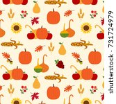autumn harvest pattern   Shutterstock .eps vector #731724979