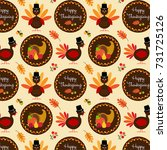 thanksgiving pattern with... | Shutterstock .eps vector #731725126