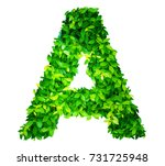 alphabet of leaves | Shutterstock . vector #731725948