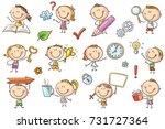 kids with symbols like arrow ... | Shutterstock .eps vector #731727364