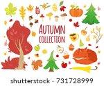 big set of vector autumn... | Shutterstock .eps vector #731728999