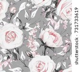 Stock photo seamless pattern with pink flowers and leaves on gray background oil painting on canvas floral 731733619