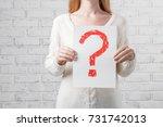 woman holding interrogation...   Shutterstock . vector #731742013