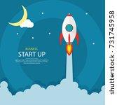 rocket launch ship. start up ... | Shutterstock .eps vector #731745958