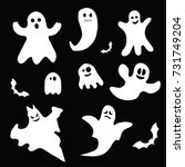 halloween ghosts flat icon on... | Shutterstock .eps vector #731749204