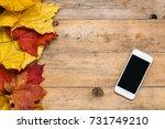 smartphone on wooden background ... | Shutterstock . vector #731749210