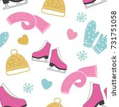 winter seamless pattern with... | Shutterstock .eps vector #731751058