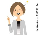 young woman mama finger pointing | Shutterstock .eps vector #731751124