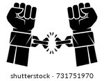 two hands clenched into a fist... | Shutterstock .eps vector #731751970
