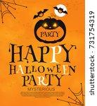 happy halloween poster template.... | Shutterstock .eps vector #731754319