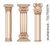 cartoon roman and greek columns ... | Shutterstock .eps vector #731755579