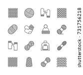 knit icon set. yarn  knittind... | Shutterstock .eps vector #731756218
