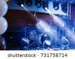 cymbals set in blue light of... | Shutterstock . vector #731758714