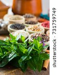 fresh peppermint of spearmint... | Shutterstock . vector #731759749