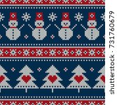 winter holiday seamless knitted ... | Shutterstock .eps vector #731760679