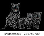 white tigress with tiger cubs | Shutterstock .eps vector #731760730