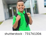 a cheerful african american... | Shutterstock . vector #731761306