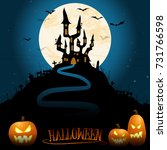 dark castle in front of full... | Shutterstock .eps vector #731766598