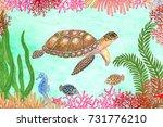underwater life. turtle  coral  ... | Shutterstock . vector #731776210