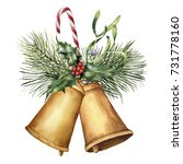 watercolor christmas bells with ... | Shutterstock . vector #731778160
