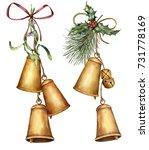 watercolor christmas bells... | Shutterstock . vector #731778169
