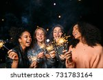 outdoor shot of laughing... | Shutterstock . vector #731783164