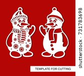 snowman. templates for laser... | Shutterstock .eps vector #731783698