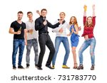it's party time  group of happy ... | Shutterstock . vector #731783770
