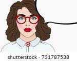 pop art girl. vintage comics...   Shutterstock . vector #731787538