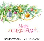 christmas tree branch with... | Shutterstock . vector #731787649