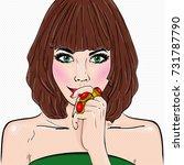 comic book brunette girl....   Shutterstock . vector #731787790