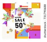 autumn sale memphis style web... | Shutterstock .eps vector #731790688