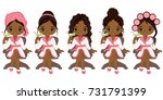 vector beautiful young african... | Shutterstock .eps vector #731791399