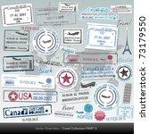 vector passport stamps and... | Shutterstock .eps vector #73179550