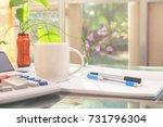 open laptop and accessories... | Shutterstock . vector #731796304