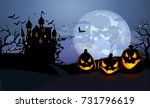 halloween background with scary ... | Shutterstock .eps vector #731796619