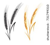 black and gold wheat ears... | Shutterstock .eps vector #731799310