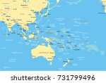 east asia and oceania map  ... | Shutterstock .eps vector #731799496