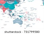 east asia and oceania map  ... | Shutterstock .eps vector #731799580
