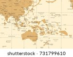 east asia and oceania map  ... | Shutterstock .eps vector #731799610