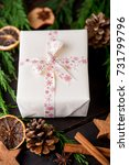 christmas gift on the antique... | Shutterstock . vector #731799796