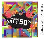 autumn sale memphis style web... | Shutterstock .eps vector #731800489