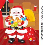 Santa Claus with gifts - toys - stock photo