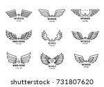 wings outline black logo vector ... | Shutterstock .eps vector #731807620